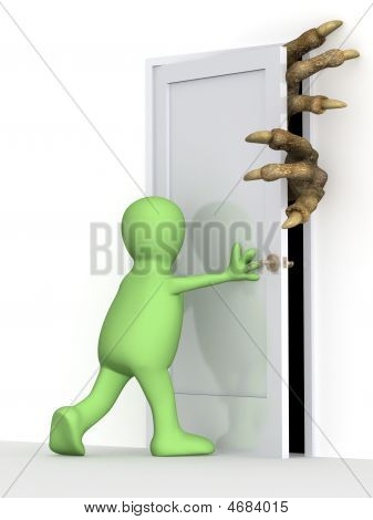 3D Puppet Closing A Door