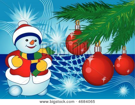 Smiling Snowman In Blue