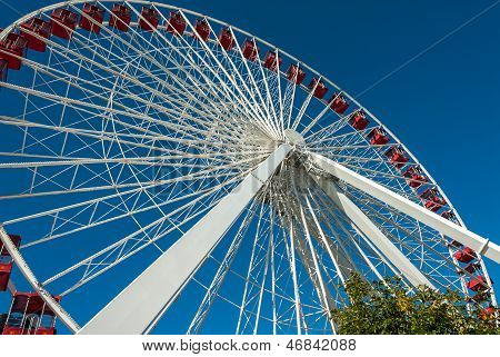 Ferris Wheel At The Navy Pier In Chicago