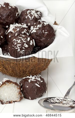 Coconut Milk Rice Truffles With Silver Spoon