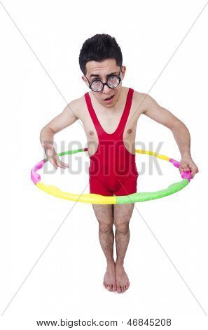 Funny sportsman with hula hoop on white