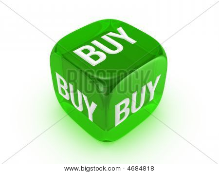 Translucent Green Dice With Buy Sign