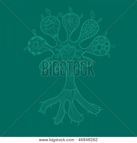 Abstract tree illustration with ornaments for your design
