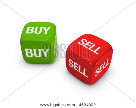 Pair Of Red And Green Dice With Buy, Sell Sign