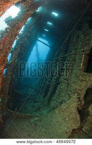 Interior Of An Underwater Shipwreck