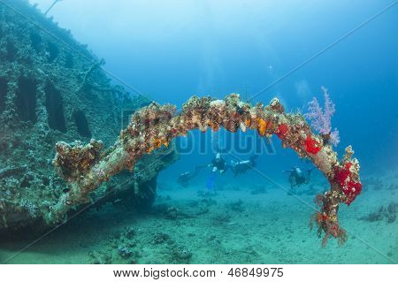 Underwater Shipwreck In A Tropical Sea