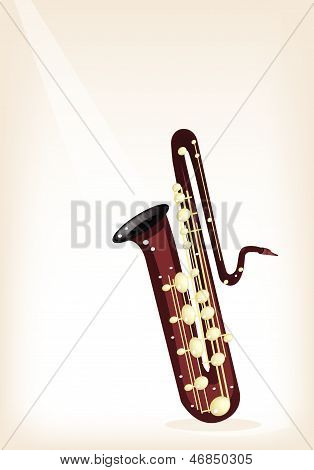 A Musical Bass Saxophone On Brown Stage Background