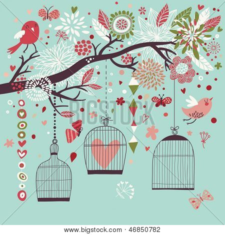 Freedom concept card. Birds out of cages. Romantic floral background in blue colors. Spring birds flying on the branch