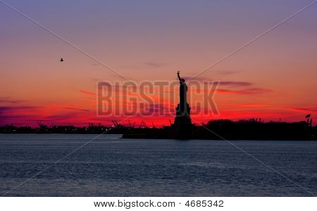 Statue Of Liberty At Dawn