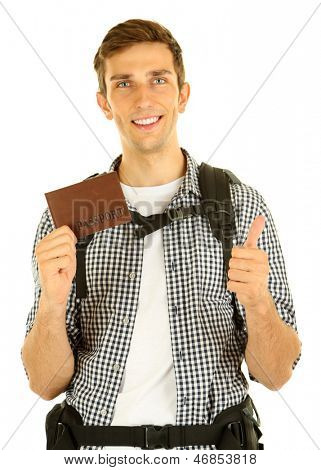 Young hiker man tourist holding passport, isolated on white