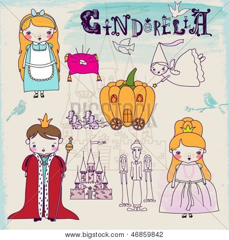 Cinderella Fairytale Characters and Symbols - Hand drawn characters illustrating famous children fairytale, including evil stepmother, prince, Cinderella's fairy godmother and pumpkin carriage