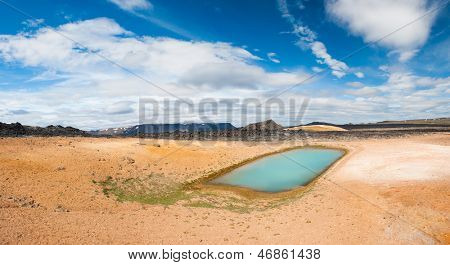 Viti is a beautiful crater lake of a turquoise color located on the North-East of Iceland, at Krafla geothermal area near the lake Myvatn