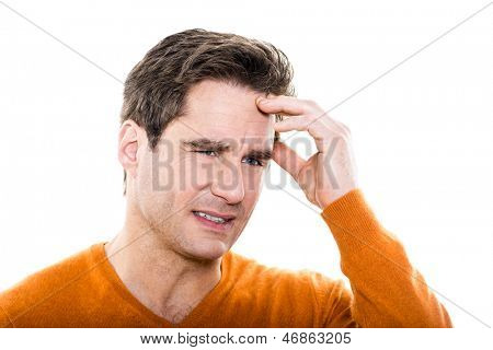 one caucasian man mature headache portrait studio  white background
