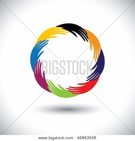 Concept Vector Graphic- Human Hand Symbols(icons) As Circle Or Ring
