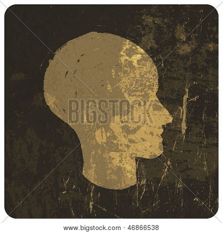 Grunge illustration of head silhouette. Raster version, vector file available in portfolio.