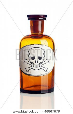 Old pharmacy bottle with skull and bones poison warning label isolated