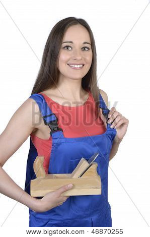 Pretty Female Worker With Panner