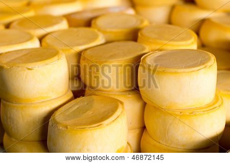 Pile Of Peru Cheese On The Cusco Cheese Market
