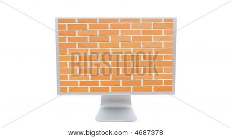 Modern Monitor With The Image Of A Brick Wall Background