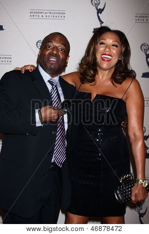 LOS ANGELES - JUN 13:  LeVar Burton; Stephanie Cozart Burton arrives at the Daytime Emmy Nominees Reception presented by ATAS at the Montage Beverly Hills on June 13, 2013 in Beverly Hills, CA