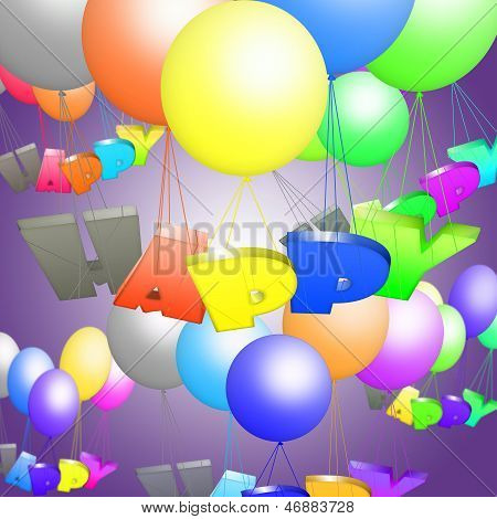 Children's picture with flying colored bouncy balls