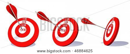 High resolution concept or conceptual set or collection of red dart target boards  with an arrow in the center isolated on white background
