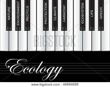 High resolution concept or conceptual white ecology text piano keys word cloud or tagcloud isolated on black background