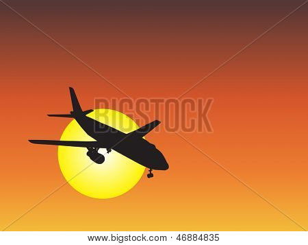 A concept or conceptual black plane,airplane aircraft silhouette flying over sky at sunset,sunrise background