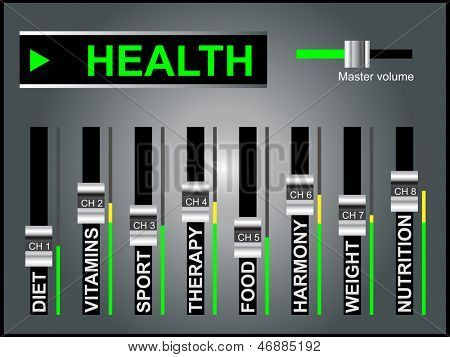 High resolution concept or conceptual white health text word cloud tagcloud as DJ mixer on gray background