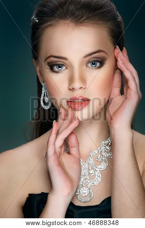 A portrait of elegant girl is in fashion style. Wedding decoration