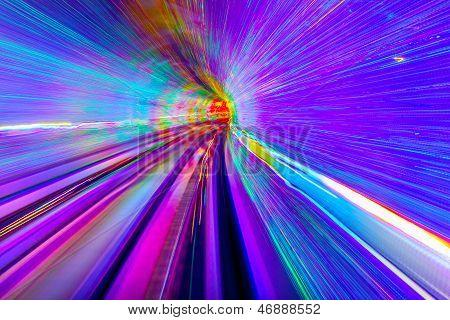 Blue Purple Rail Abstract Underground Railway Bund Shanghai China