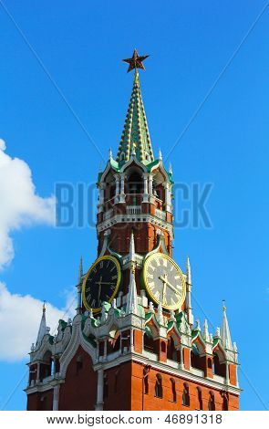 Moscow Kremlin clock of the Spasskaya Tower