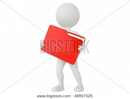 3D Humanoid Character Hold A File Folder