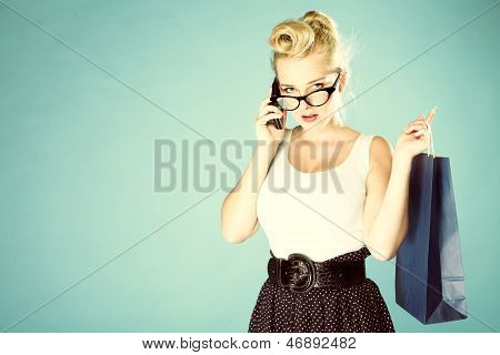 Girl With Shopping Bag And Cell Phone Retro Style