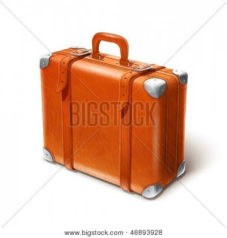 leather big suitcase vector illustration isolated on white background EPS10. Transparent objects and opacity masks used for shadows and lights drawing