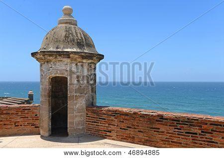Turret at Castillo San Cristobal in San Juan, Puerto Rico during sunny day