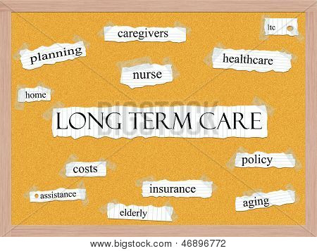 Long Term Care Corkboard Word Concept