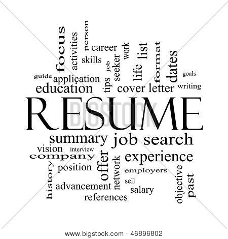 Resume Word Cloud Concept In Black And White