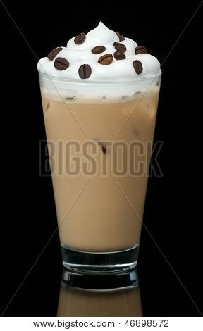cold coffe cup on the black background