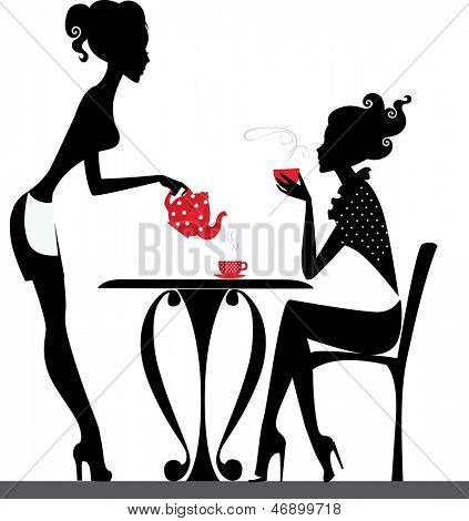 silhouette of a two girls drink tea