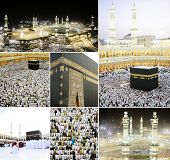 stock photo of kaaba  - Composition on Hajj and visiting Kaaba in Mecca - JPG