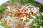 stock photo of rice noodles  - Delicious Vietnamese Chicken Pho Soup with rice noodle - JPG