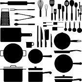 picture of kitchen utensils  - Kitchen utensil silhouette collection in vector format - JPG