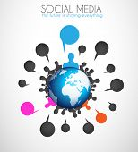 Worldwide communication and social media concept art. People communicating around the globe with a l