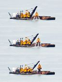 stock photo of triptych  - Triptych of commercial vessel harvesting sand from the ocean bed in Singapore - JPG