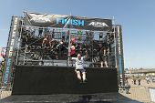 SAN DIEGO, CALIFORNIA - JUNE 15: Participants at the fitness challenge Alpha Warrior competition on