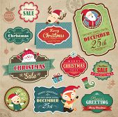 stock photo of snowman  - Christmas stickers - JPG