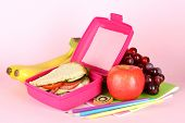foto of lunch box  - Lunch box with sandwich - JPG