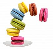 stock photo of cake stand  - Macaroons cake standing on a saucer fall in tea - JPG