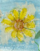 image of poetry  - Yellow flower collage made with old poetry - JPG